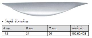 [P]มือจับเฟอร์นิเจอร์ HAFELE 96*28mm. 105.60.403