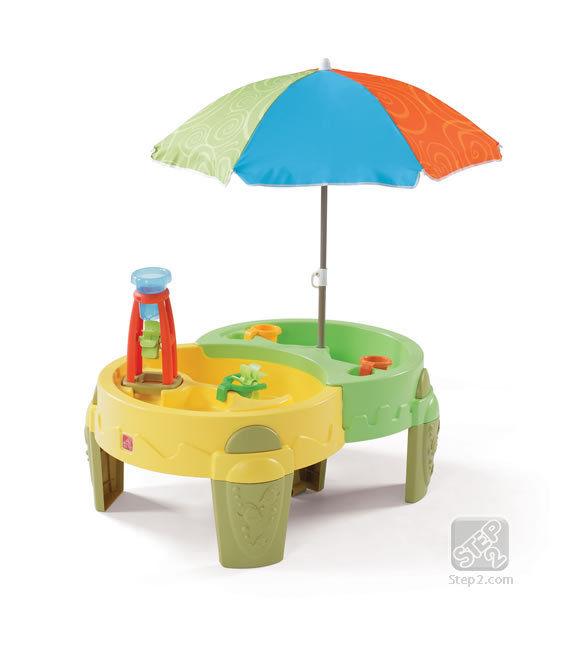 โต๊ะเล่นน้ำ และ ทราย พร้อมร่มกันแดด Step2 Shady Oasis Sand & Water Table สีเขียว เหลือง