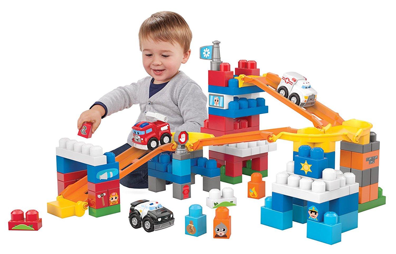 บล๊อคต่อเสริมจินตนาการ Mega Bloks First Builders Fast Tracks Rescue Team พร้อมรถแข่งถึง 3 คัน