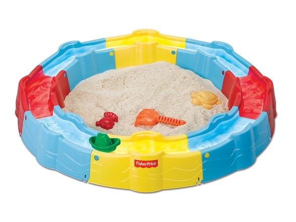 กระบะทรายพร้อมรางใส่น้ำสำหรับเล่นเรือ Fisher-Price Sand N Play Build a Box Sandbox, Yellow/Blue สีเหลือง ฟ้า