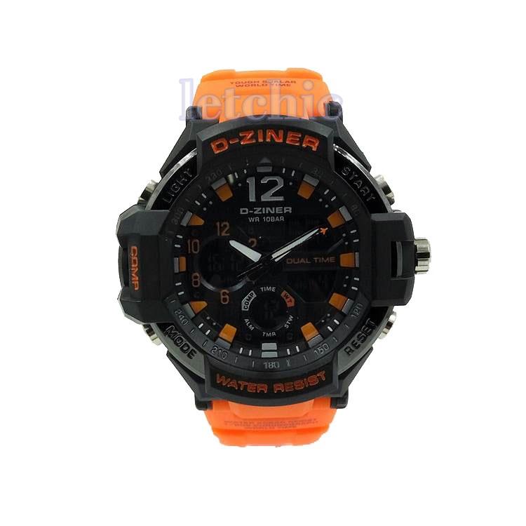 นาฬิกา D-Ziner Sport watch รุ่น DZ-8067B นาฬิกาข้อมือ unisex สีดำ สายสีส้ม ของแท้ รับประกันศูนย์ 1 ปี ราคาพิเศษ ราคาถูกที่สุด