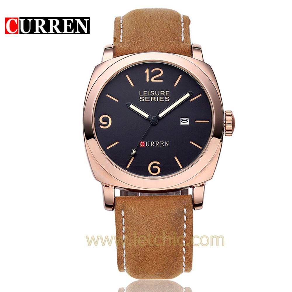 นาฬิกา Curren นาฬิกาข้อมือผู้ชาย สายหนัง รุ่น M8158 BK RG BRN - สีดำโรสโกลด์น้ำตาล ของแท้ รับประกันศูนย์ 1 ปี ราคาพิเศษ ราคาถูกที่สุด