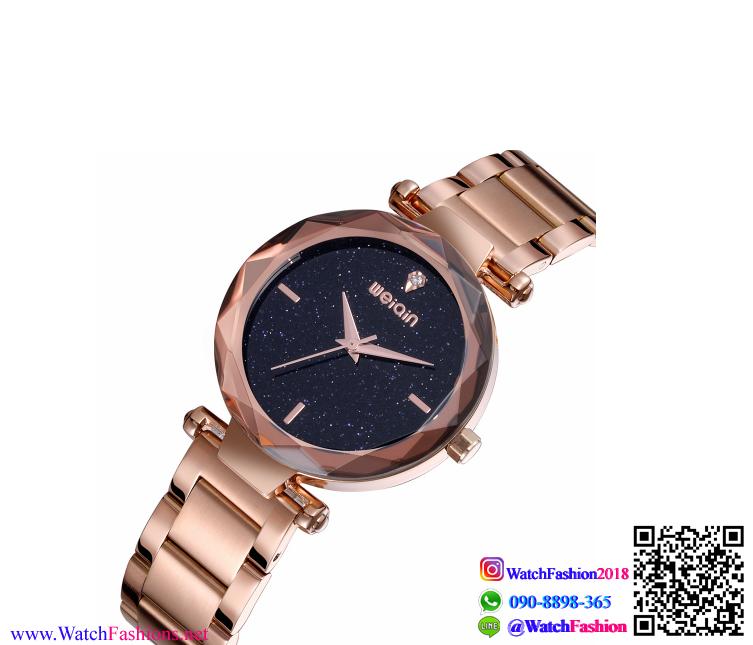 นาฬิกาข้อมือแฟชั่นนำเข้า ผู้หญิง WEIQIN สีโรสโกล กันน้ำ + ของแท้