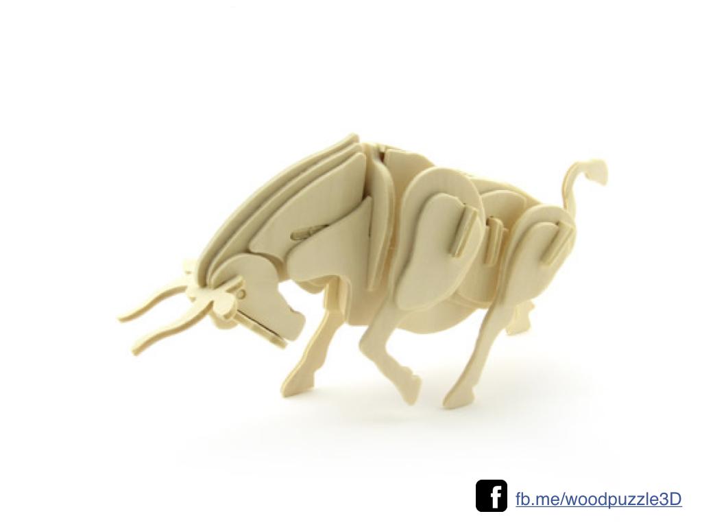 ตัวต่อไม้ 3 มิติ จิ้กซอว์ไม้ ตัวต่อไม้คุณวัวกระทิง 3D Animal Puzzle