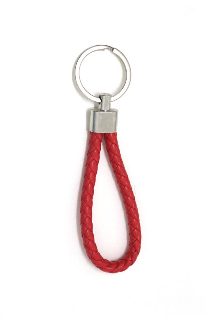พวงกุญแจ(หนังเทียม)ห้อยกระเป๋า เกลียวสีแดง 12อัน
