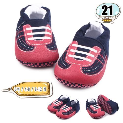 รองเท้าเด็กอ่อน ลายรองเท้าผ้าใบ ผูกเชืือก สีแดงเข้ม - Navy false shoelace
