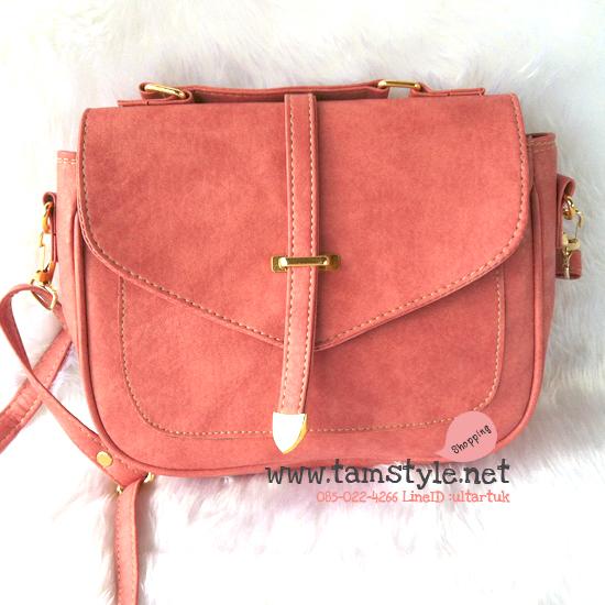 Bag-008 กระเป๋าสะพายสายเล็ก แต่งฝาสไตล์เกาหลี สีชมพู สายสะพายปรับระดับและถอดได้ (กระเป๋าพร้อมส่ง)