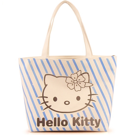 [Preorder] กระเป๋าผ้าเก๋ๆ Hello Kitty ลายทางสีฟ้า Value Special hello kitty cute shoulder bag handbag bag creative cartoon Hello Kitty canvas bag