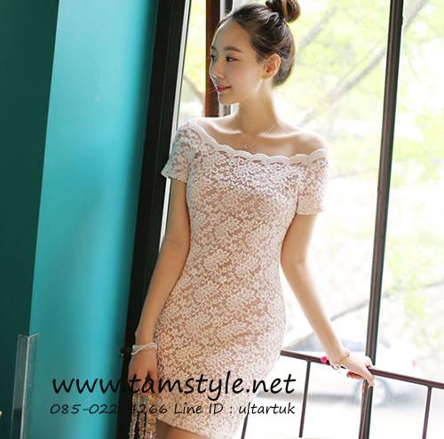 Dress117 - เดรสแฟชั่นนำเข้า เดรสลูกไม้ คอกว้าง มีซับ สีขาว ใส่ไปงาน เริดค่ะ อก 34 ((เดรสแฟชั้นพร้อมส่ง))