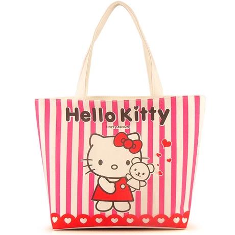 [Preorder] กระเป๋าผ้าเก๋ๆ Hello Kitty ลายทางสีชมพู Value Special hello kitty cute shoulder bag handbag bag creative cartoon Hello Kitty canvas bag
