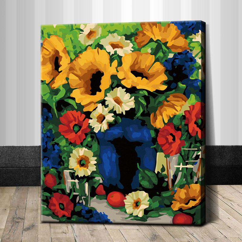 """TG356 ภาพระบายสีตามตัวเลข """"ดอกไม้เหลืองแดงในแจกันน้ำเงิน"""""""