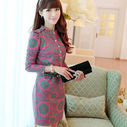 ชุดเดรสแฟชั่นเกาหลีเสื้อคอจีนลายสวยดูเด่นมากค่ะ แขนยาวมาพร้อมเข็มขัดเข้าชุดสวยค่ะไซส์ XL มี2สี สีชมพู/สีเขียว
