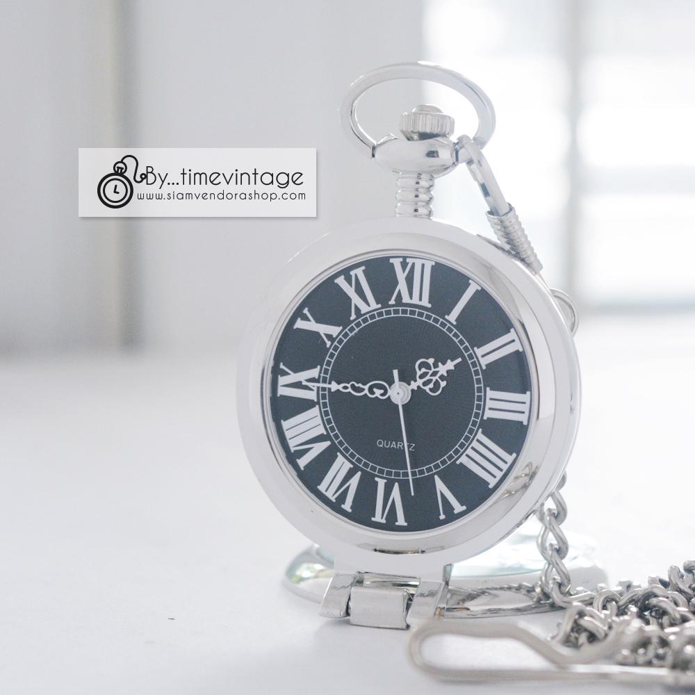 นาฬิกาพกแบบพับตั้งได้ พื้นหน้าปัทม์สีดำ เลขโรมัน แบบสายหนีบ (พร้อมส่ง)