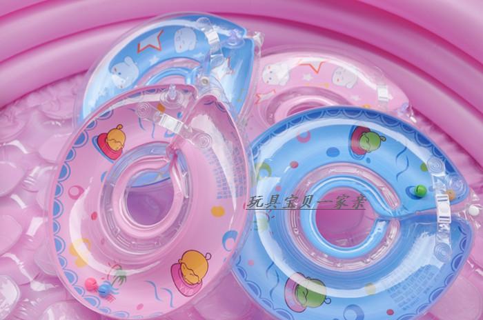 สีฟ้า ห่วงยางสวมคอ Size L สำหรับน้องตัวอ้วน หรือ ใช้ได้ตังแต่ 12 เดือน - 24 เดือน ปลอดภัยมีตัวล้อคบนล่าง มีกระดุมอีกชั้น