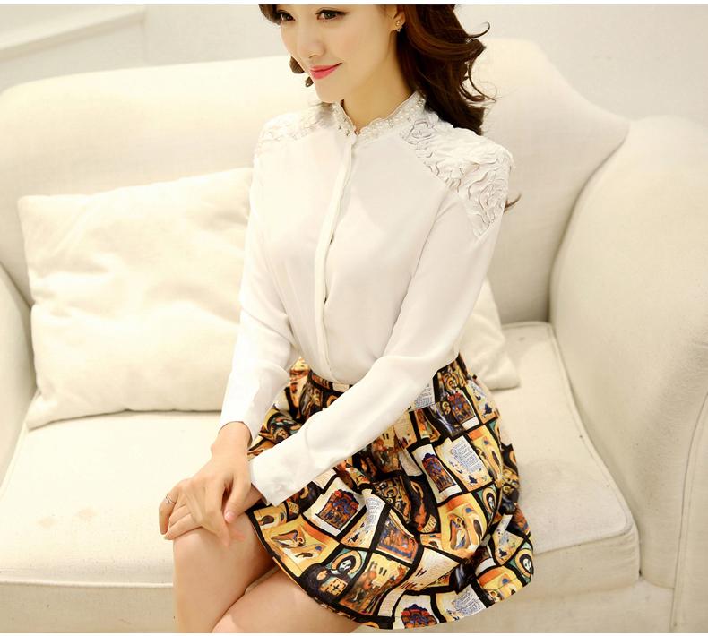 Korea Closet เสื้อแฟชั่นเกาหลี ผ้ามันสีขาวอย่างดี ดีเทลทรง
