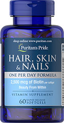 Puritan's Pride - Hair, Skin & Nails One Per Day Formula 60 Softgels