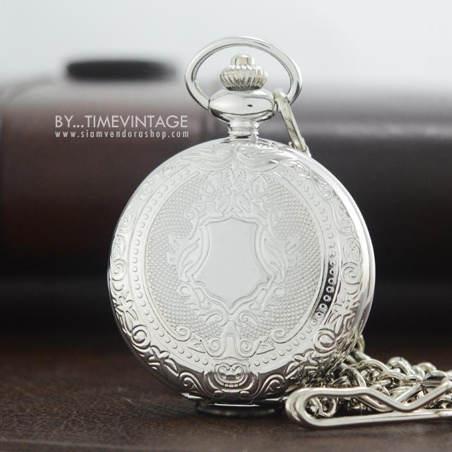 นาฬิกาพกพรีเมียมตัวเรือนสีเงิน ลายคลาสสิคยุโรประบบถ่านควอทซ์ญี่ปุ่น