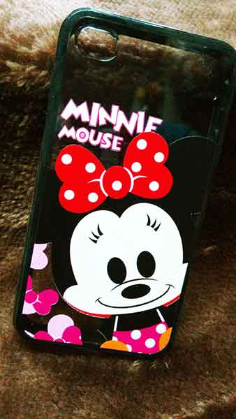 case iphone 4/4s ขอบยางหลังใส Minnie Baby