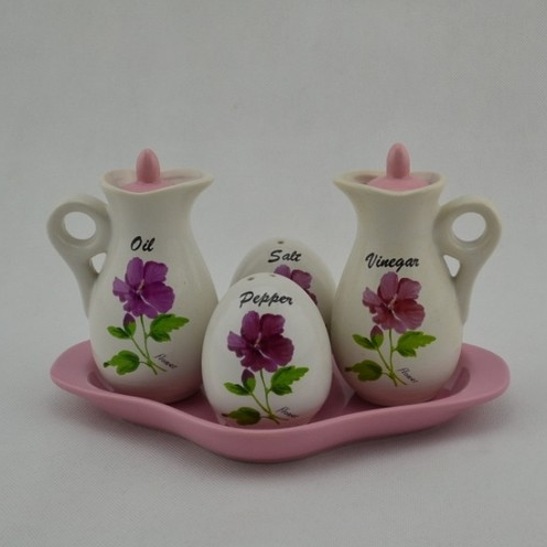 [Preorder] เซ็ทเครื่องปรุงแบบ 4 ชิ้น ลายดอกไม้สีชมพู Kitchen ceramic spice jar seasoning creative suite Spice Box sent spoon sauce pot racks base