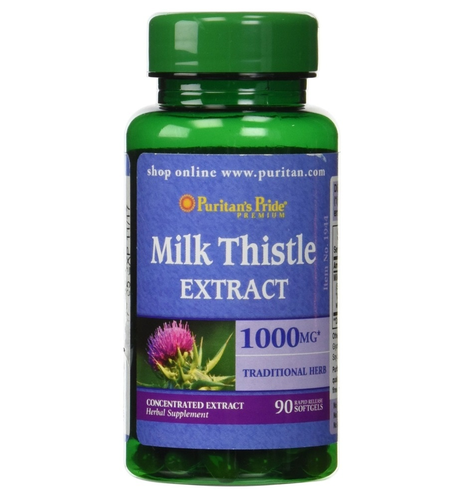 Puritan's Pride Milk Thistle 4:1 Extract 1000 mg (Silymarin)/ 90 Softgels
