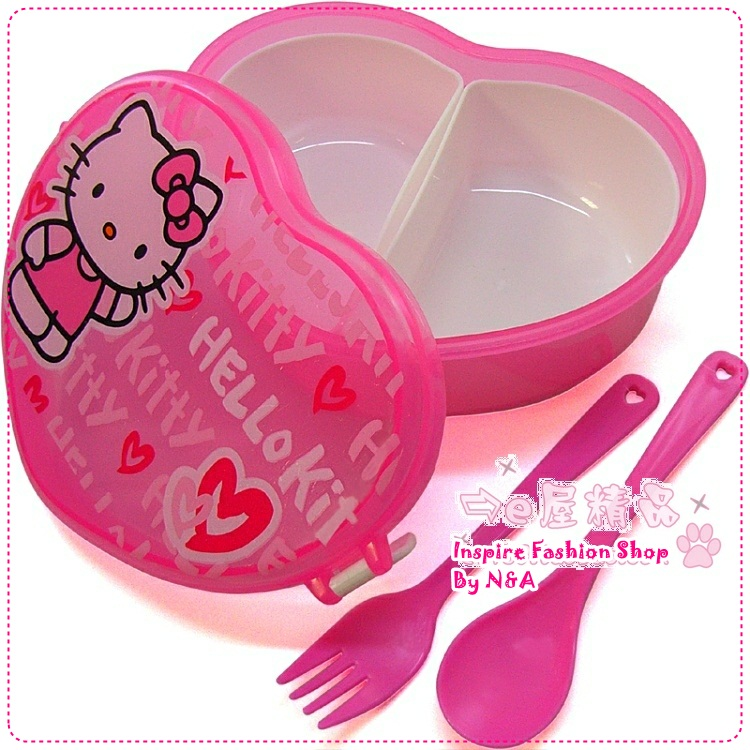 กล่องข้าวหัวใจ Hello Kitty สีชมพู Hello Kitty heart-shaped bunk lunch boxes / lunch boxes / love lunch boxes