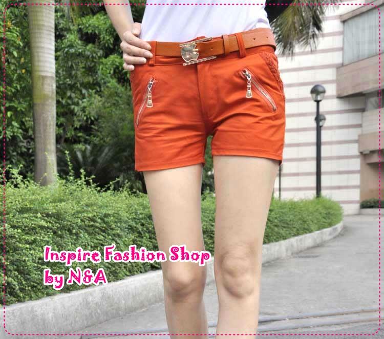 กางเกงขาสั้นแฟชั่นสีส้มพร้อมเข็มขัดเก๋ๆ หัวแอปเปิ้ล 2012 new Korean version of sweet lace zipper cotton shorts overalls (Free Belt)