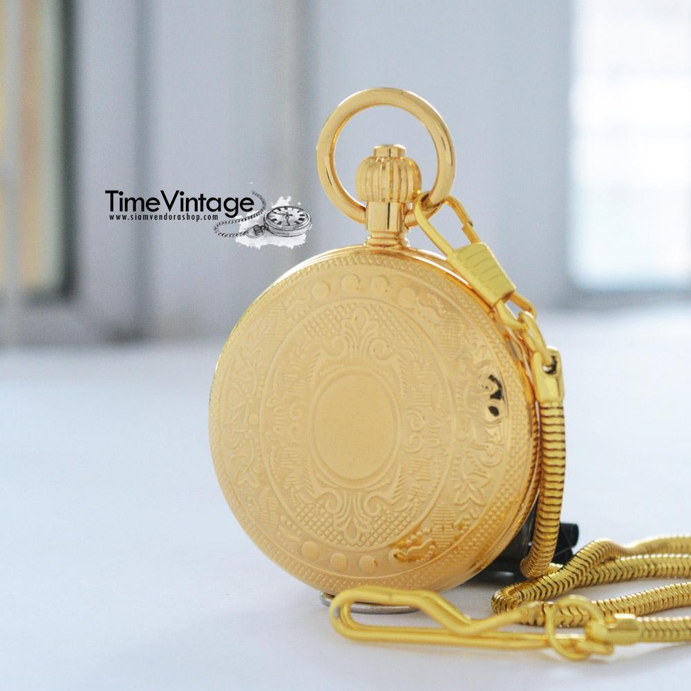 """นาฬิกาของขวัญแบบพกพาระบบไขลานสีทองทรงกลมตลับ """"Royal Gold"""""""