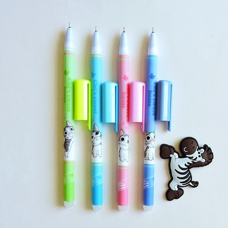 ปากกาแมวจี้แบบลบได้ มีหมึกดำและน้ำเงิน(เซตละ 4 ด้าม) ประหยัด 46 บาท