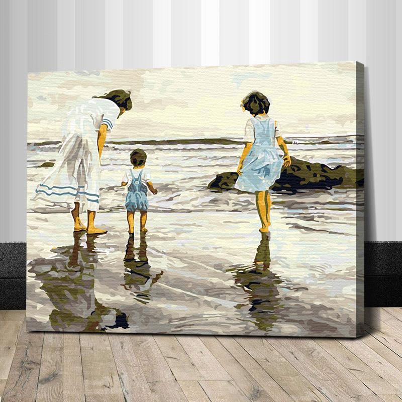 """TG013 ภาพระบายสีตามตัวเลข """"แม่ลูกเที่ยวทะเล"""""""