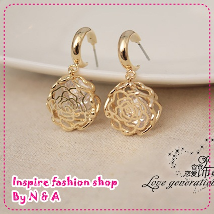 ตุ้มหูดอกกุหลาบ Korea Korea, love ornaments discipline ladies earrings vintage earrings in Europe and America female