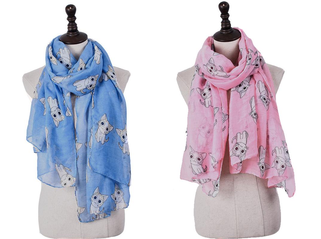 ผ้าพันคอแมวจี้ (เลือกสีด้านใน)