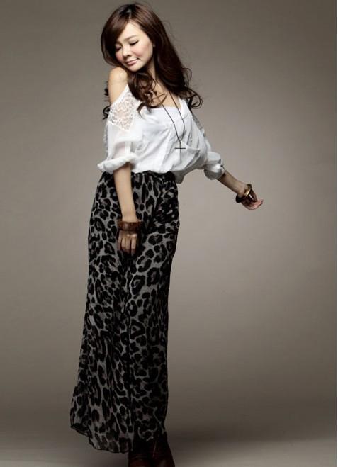 กางเกงแฟชั่นทรงสบายผ้าซีฟองลายเสือดาวโทนสีดำ