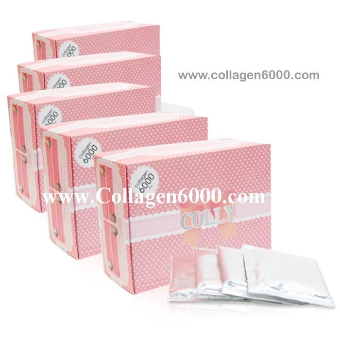 Colly Pink Collagen 6000 (คอลลาเจน เปปไทน์เข้มข้น 6000mg/ซอง) 5กล่องใหญ่ (30ซอง/กล่อง)