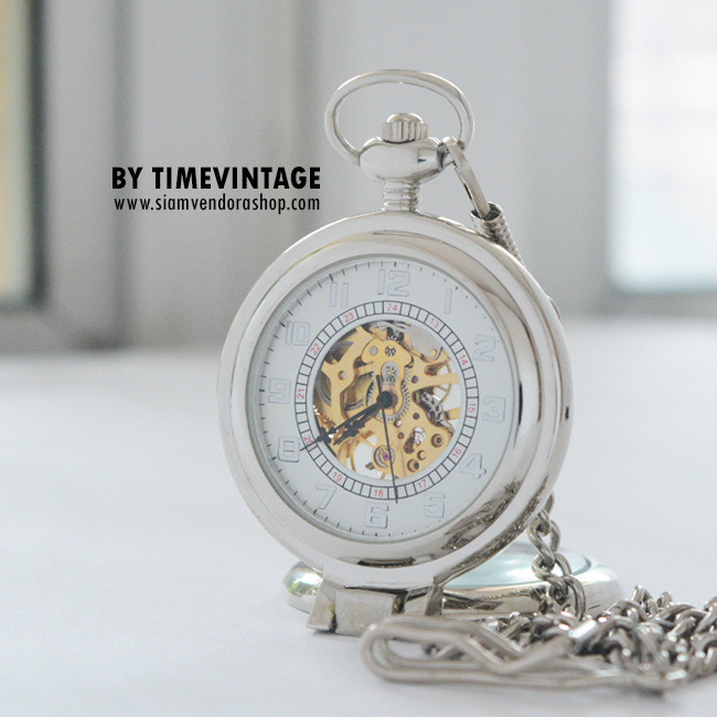 นาฬิกาตั้งโต๊ะพรีเมี่ยมระบบกลไกไขลานโบราณตัวเรือนสีเงินเงาสามารถเป็นนาฬิกาพก