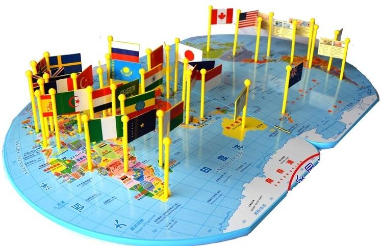 แผนที่โลก พร้อมธง 36 ประเทศ (Map of the World)