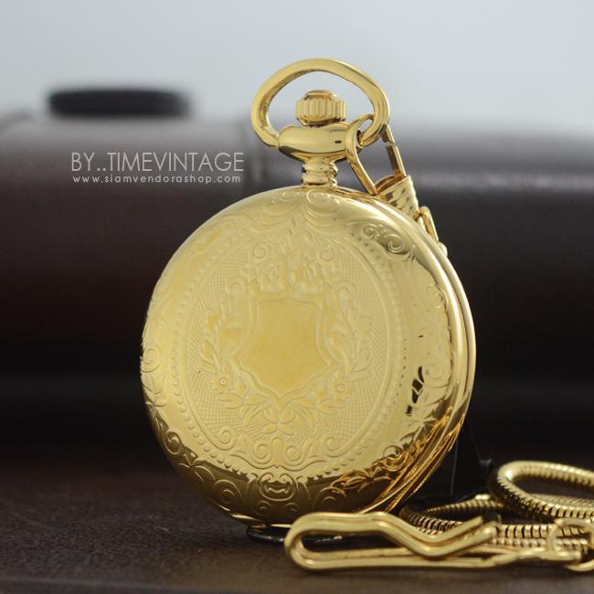 นาฬิกาพรีเมียม แบบพกพาสีทอง ระบบถ่านควอทซ์พร้อมฟังชั่นวันที่ (1-31)