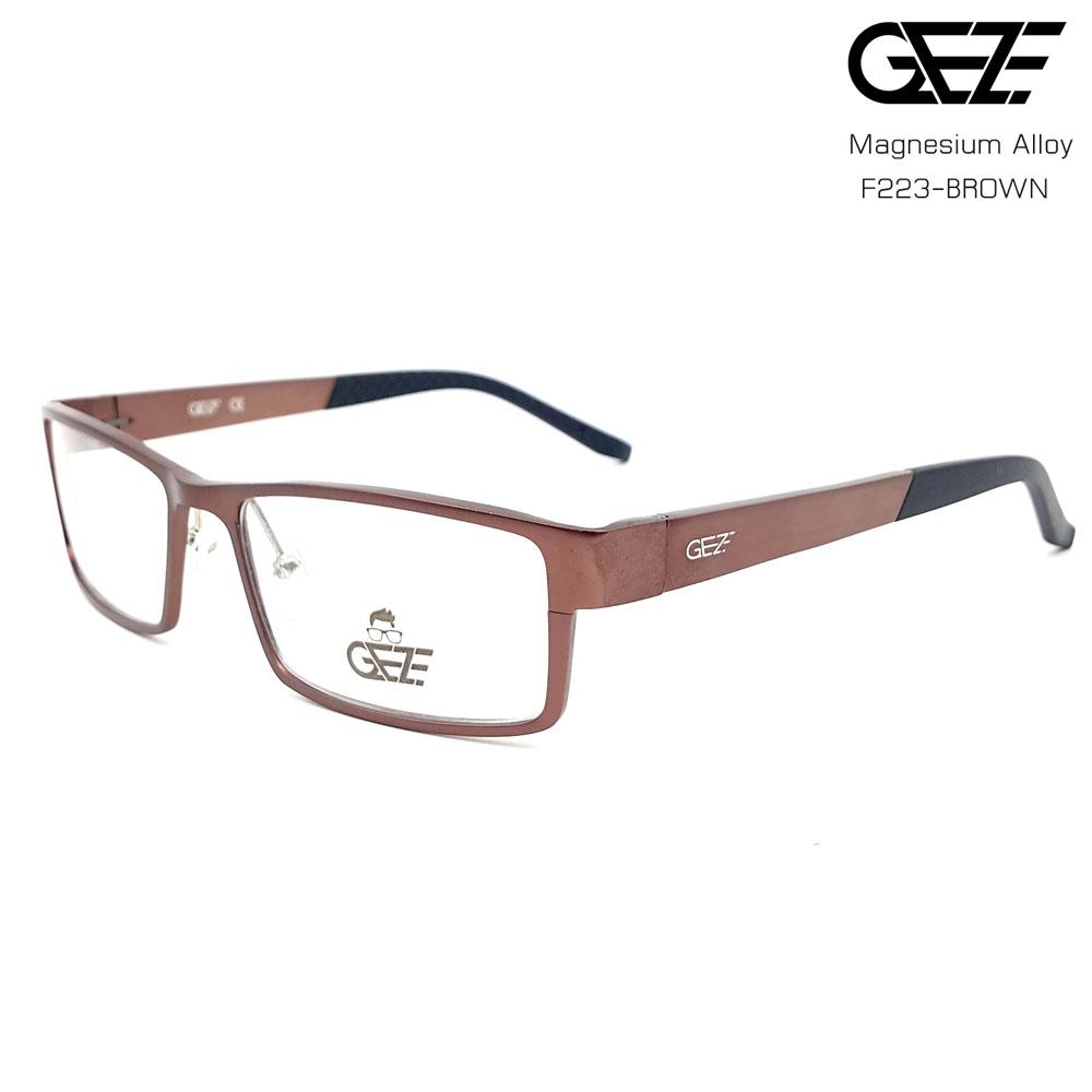 แว่นตาผู้ชาย โลหะ Magnesium น้ำหนักเบา ใส่สบาย GEZE SABER รุ่น F223 สีน้ำตาล อายุการใช้งานยาวนาน ด้วยโลหะ Aluminium Magnesium Alloy