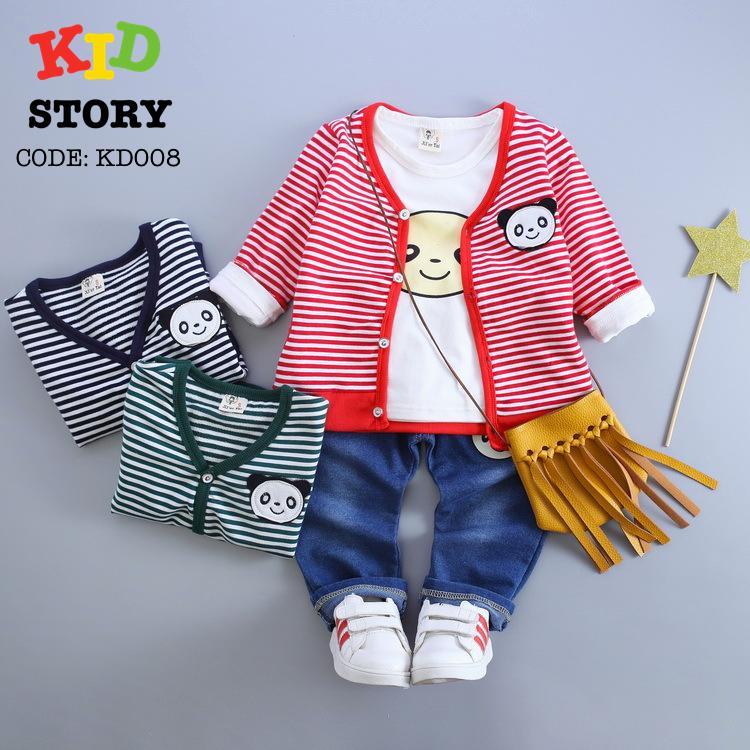 PRE-ORDER ชุดเด็ก เซต 3 ชิ้น เสื้อแขนสั้น เสื้อแขนยาวลายทาง กางเกงขายาว