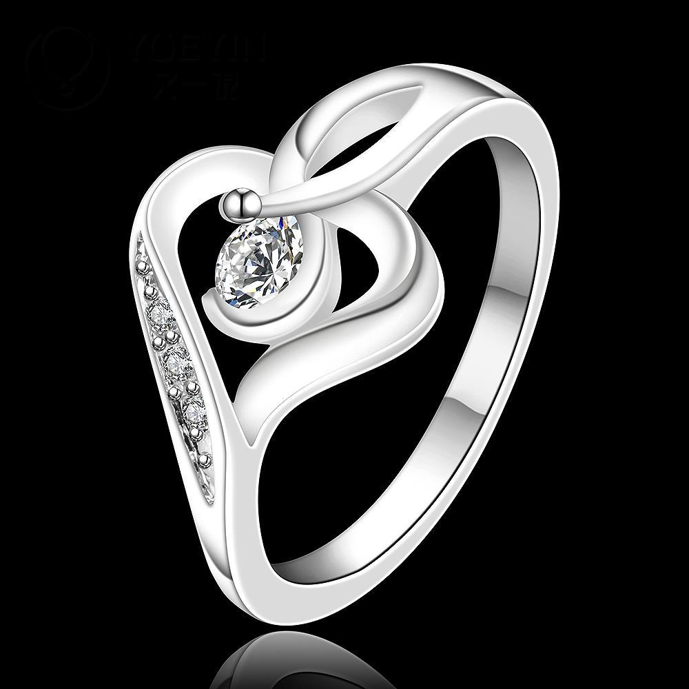 R902 แแหวนเพชรCZ ตัวเรือนเคลือบเงิน 925 หัวแหวนรูปหัวใจ ขนาดแหวนเบอร์ 7
