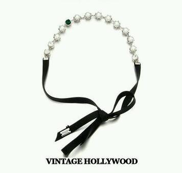 Korea Style Crown Pearl Tie Hair Band ที่คาดผมแบบผูกแต่งมุกมงกุฎและคริสตัล