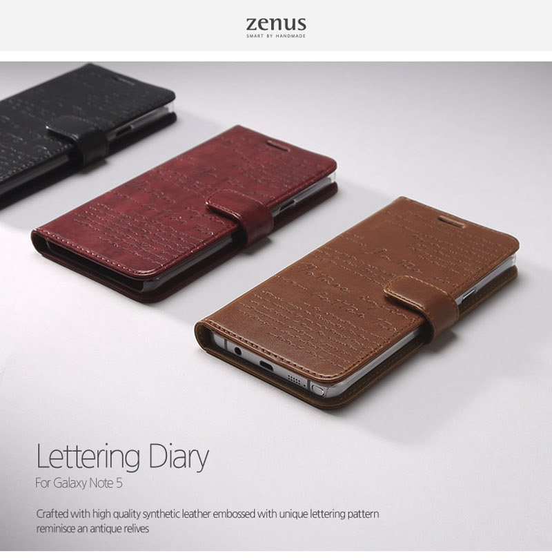 Zenus : Lettering Diary Wallet Case w/Card Slots For Galaxy Note 5