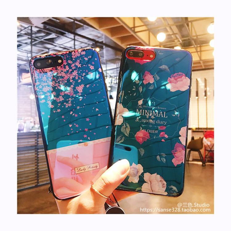 (639-004)เคสมือถือไอโฟน Case iPhone7 Plus/iPhone8 Plus เคสนิ่มวินเทจดอกไม้กระจกบลูเรย์