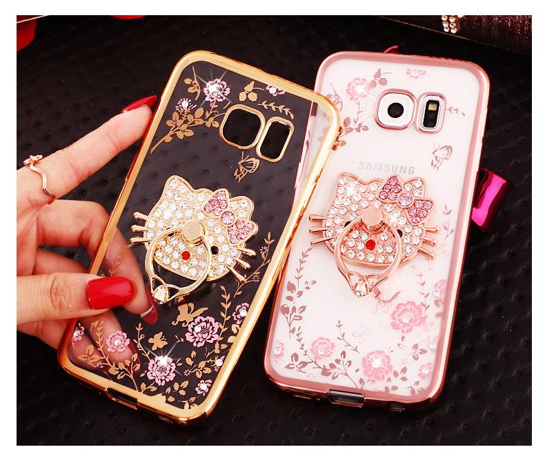 (025-1145)เคสมือถือซัมซุง Case Samsung Galaxy S7 เคสนิ่มซิลิโคนใสลายหรูประดับคริสตัล พร้อมแหวนเพชรมือถือตั้งโทรศัพท์