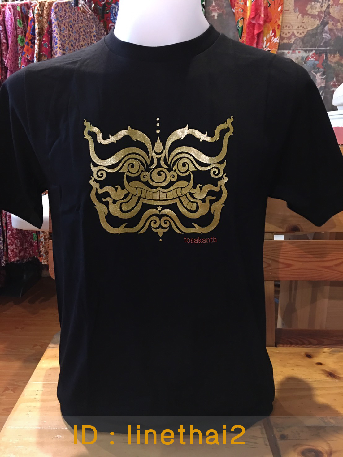 เสื้อลายไทย ลายเศียรทศกัณฐ์ สีดำ