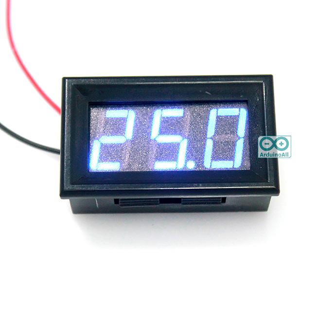 """ดิจิตอลโวลต์มิเตอร์ 5-28 โวลต์ สีน้ำเงิน 0.56"""" Digital DC Voltmeter 5-28V Module"""
