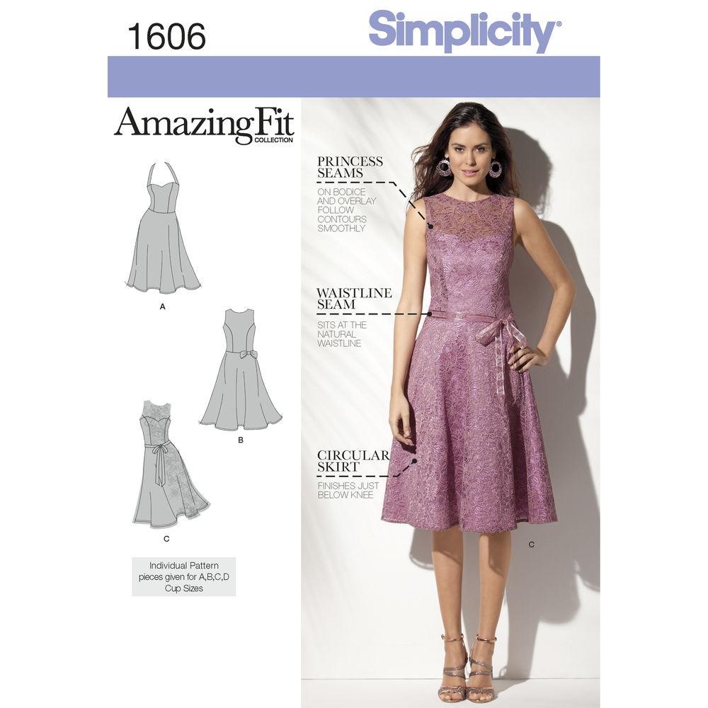 แพทเทิร์นตัดเดรสสตรี Simplicity 1606R5 ไซส์ใหญ่ Size: 14-16-18-20-22 อก 36-44 นิ้ว