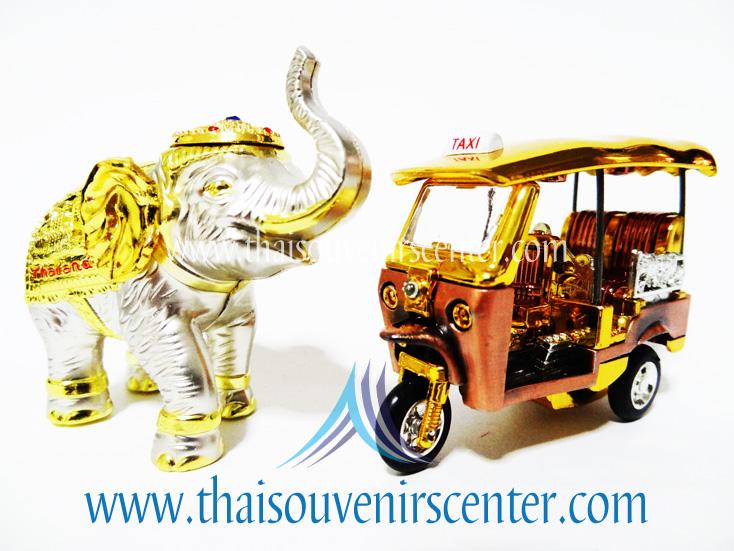 ของพรีเมี่ยม ของที่ระลึกไทย ช้าง vs รถตุ๊กตุ๊ก แบบ 12 Size S สีเงินทอง