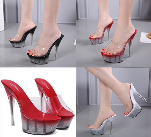 รองเท้าส้นแก้วใสเล่นระดับสีด้านในส้นแต่งเกร็ดเพชรสีแดง/ดำ/ขาว ไซต์ 34-40