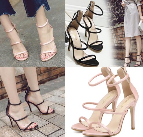 รองเท้าส้นสูงสีชมพู/ดำ ไซต์ 34-39