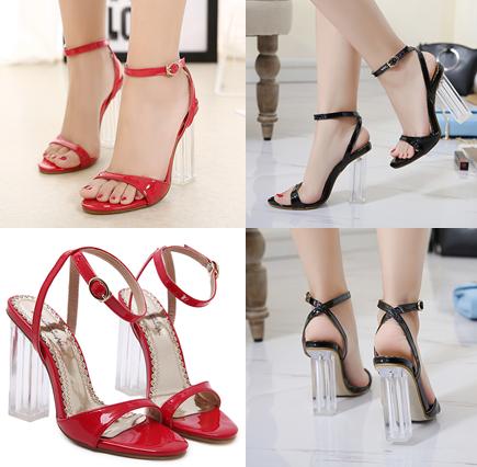 รองเท้าส้นสูง ไซต์ 34-40 สีดำ/แดง